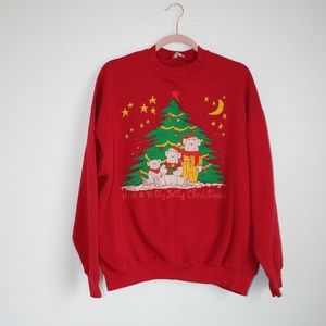 Vintage Christmas bear ugly sweater